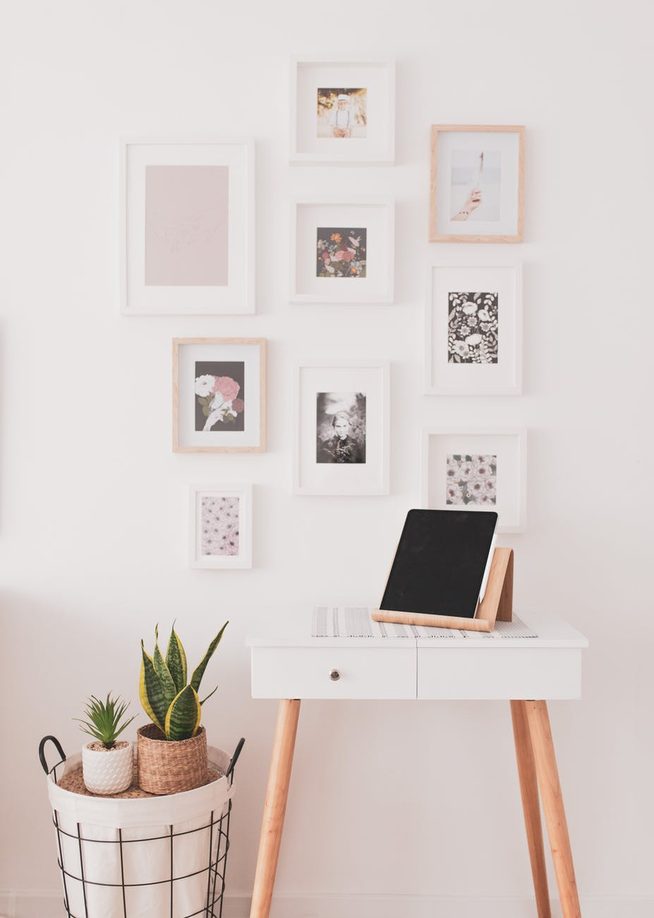 cute vanity table with tablet on stand
