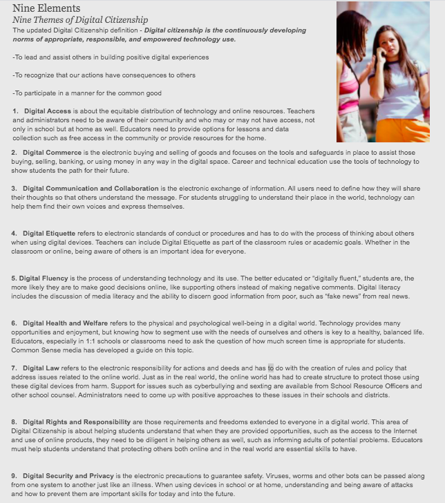 Screen shot of the 9 elements to digital citizenship presented in the article.