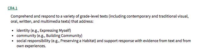 Screen shot of the Grade 4 English Curriculum CR4.1